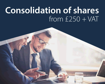 Consolidation of shares from £250 + VAT